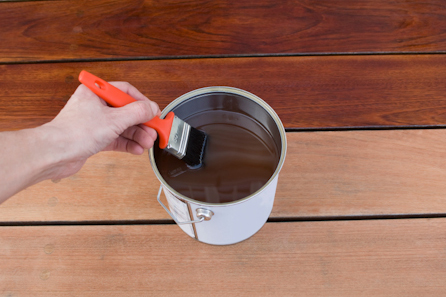 wood deck being stained